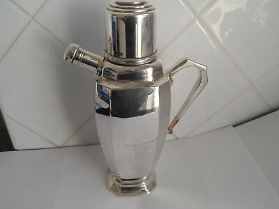 Vintage Stunning  Heavy Silver Plate Art Deco Cocktail Shaker Stepped Design