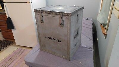 Vintage US Navy Military Trunk Storage Chest Crate Tote SealTight Side Table
