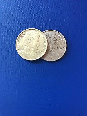 Chile Coins- 1 Peso 1976 and 1978
