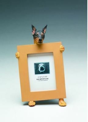 "Min Pin (Black Tan) Dog Photo Picture Frame Gift Resin 2-1/2""x3-1/2"""