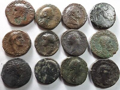 Lot of 12 Lower Quality Early Roman Coins;Augustus,Nero, Vespasian;111.5 Grams!
