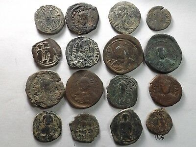 Lot of 16 Mixed Quality Larger Roman Byzantine Coins; 180.8 Grams!