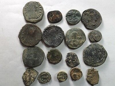 Lot of 17 Low Quality Roman Byzantine Coins; 122.7 Grams!
