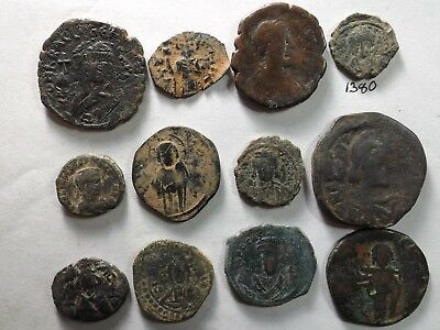 Lot of 12 Roman Byzantine Coins; 89.2 Grams!