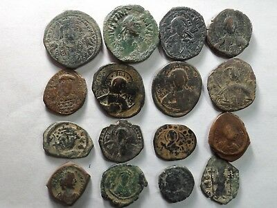 Lot of 16 Larger Roman Byzantine Coins; 125.0 Grams!
