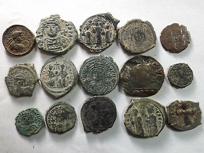 Lot of 15 Quality Roman Byzantine Coins; 95.9 Grams!