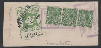 MIDLAND RAILWAY 4d GREEN PARCEL STAMP ON PIECE WOODVILLE TO DERBY USED
