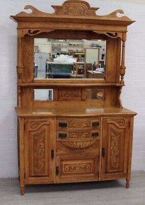 Solid Oak Carved Victorian Sideboard With Mirror
