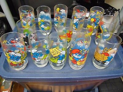 Smurfs Glasses From Hardees Complete Set of 14 !! 1982/83 RARE !! L@@K !!
