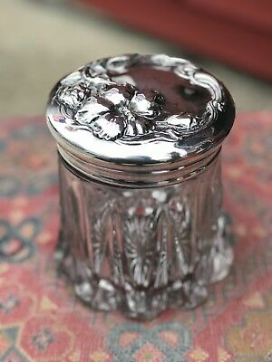 Antique Victorian 1880 Tobacco Jar Ornate Silver Plated Top and Art Glass Jar 6""