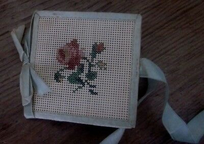 19th c antique sewing needle book needlepoint silk flowers