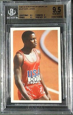 Carl Lewis ROOKIE (RC) card 1987 QOS BGS 9.5 GEM MINT Pop. 1 Highest Graded