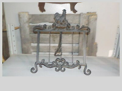 Sale-Gift--Vintage Wrought Iron Recipe Book Holder-Bible Holder-Rooster Stand