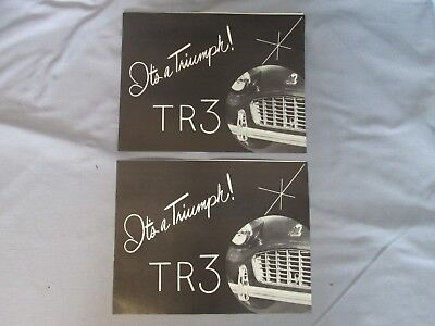 2 Matching Vintage Triumph Tr-3 Showroom Sales Brochure & Price Guide