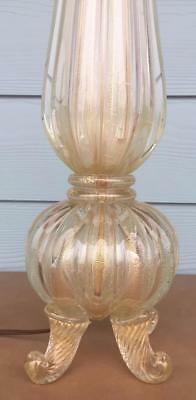 Vintage Murano Italian Barovier Toso Gold Fleck Footed Table Lamp