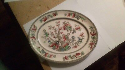 "12"" Vintage Johnson Brothers Indian Tree Oval Dinner Plate Meat Turkey Platter"