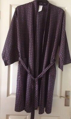 Vintage St Michael M&S Navy Blue Dressing Gown Robe Size M
