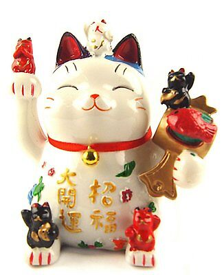 Feng Shui Maneki Neko Lucky Cat/Waving Hand Cat Coin Bank for Wealth