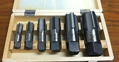 "NEW 6 Piece NPT Taper Pipe Tap Set 1/4"" thru 1 1/4"" With Wooden Box. Full Set"