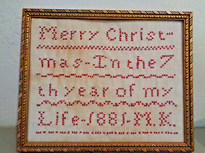 Antique Merry Christmas Cross Stitch SAMPLER 1881 White Linen Cotton Red Thread