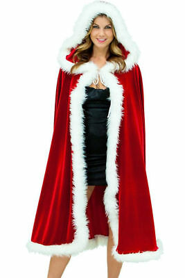Deluxe Mrs. Santa Claus Hooded Christmas CAPE Women's Soft Red w White Trim 7257