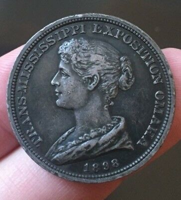 1898 Trans-Mississippi Exposition silver dollar-sized commemorative medal