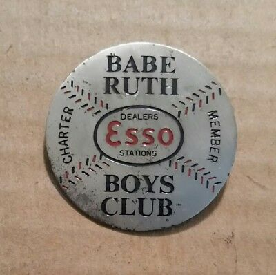 Babe Ruth Boys Club,Esso Dealers Stations,Charter Member Pinback,1930's