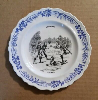 Super Early French Foot-Ball (Rugby) Souvenir Transfer Plate,1880's-1890's