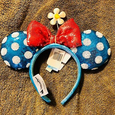 Disney Blue & White Sequin Polka Dot Steamboat Minnie Mouse Ears Headband