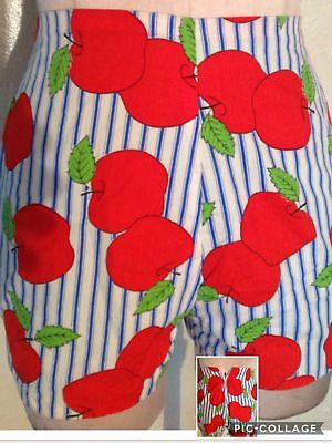 Vintage 1950s apple print shorts 3/4 5/6
