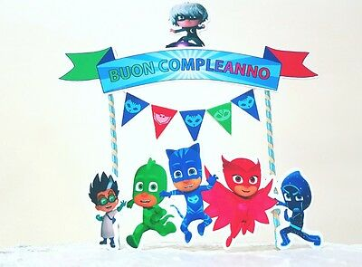 Cake topper pj mask birthday compleanno personalizzato customizable pigiamini