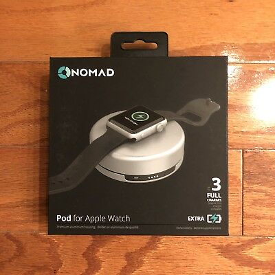 Nomad Pod Portable Aluminum Housing Charger for Apple Watch (Silver)