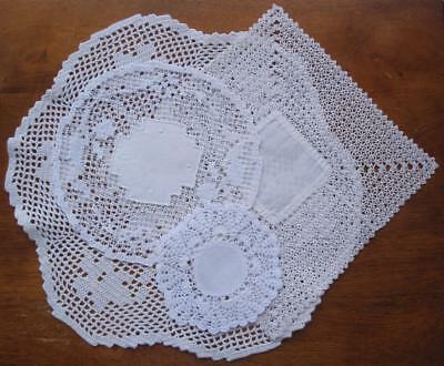 Four Vintage Hand Made DOILIES Incorporates: Knotted Lace/Filet/ Crochet/ Linen