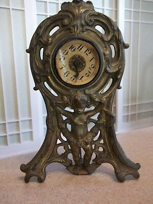 Antique Brass? Art Nouveau Figural Westclox Mantel Shelf Wind Up Clock 1906