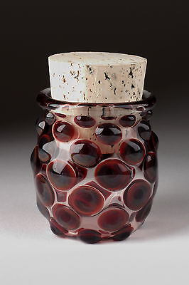 Blown Glass Large Polka Dot Jar - Red - Handmade Bottle