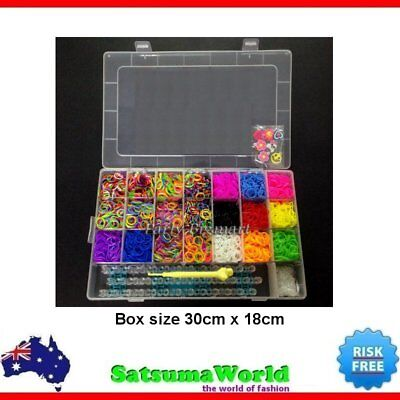 Large Rainbow Loom Band case kit Bands Board Loom hooks clips + Free charms