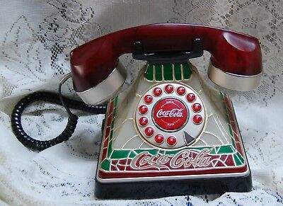 Coca Cola Stained Glass Look Telephone 2001