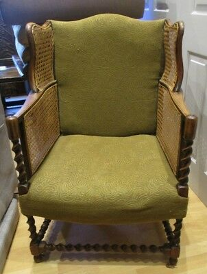 Vintage Single Upholstered Armchair With Woven Cane Wing Sides Unusual