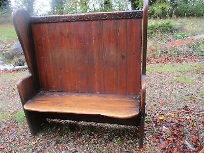 Vintage Settle / Pew / High Back Bench, Farmhouse, Inn, Pitch Pine