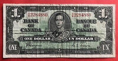 1937 $1 Bank of Canada George VI Coyne-Towers R/M 2284880 - 13.95