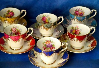 Paragon Set of 6 Fancy Flowers Fruits Rich Gold Fine Bone China Cups & Saucers