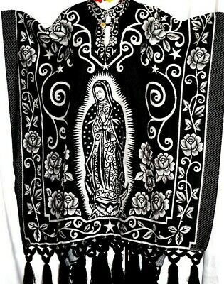 Black/White Jorongo Poncho Gavan Mexico Virgen Guadalupe Reversible 2 in 1 Women