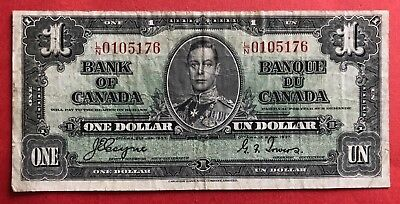 1937 $1 Bank of Canada George VI Coyne-Towers L/N 0105176 - 11.95