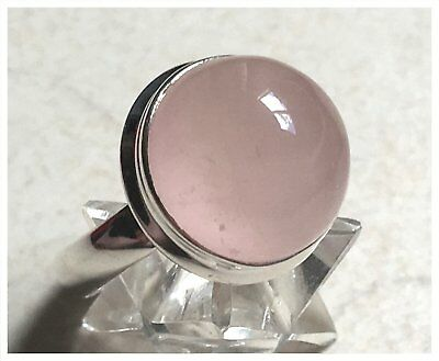 925 Sterling Silver ROSE QUARTZ Semi Precious GEMSTONE RING SIZE P 1/2  - US 8