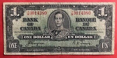 1937 $1 Bank of Canada George VI Coyne-Towers T/M 3014380 - 8.95