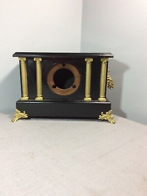 Antique Black Mantle Clock Case Only for Parts / Project