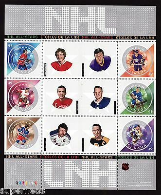 Year 2004 Canada stamps, 5th series NHL pane w/ Johnny Bower #2017 ** MNH GEM