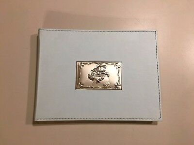 Blue Baby Photo Album Silver Teddy Bear on Leathery Cover New