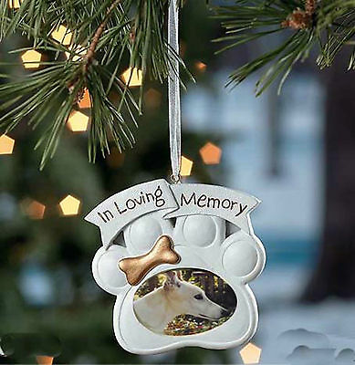 Pawprint Memorial Dog Photo Ornament - remember a beloved pet **FREE SHIPPING**