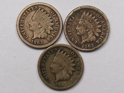 3 - 1863 Civil War Era C/N US Indian Head Pennies.  #19